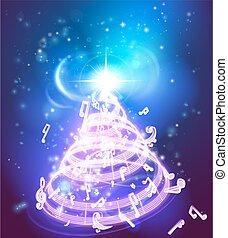 musique, arbre noël