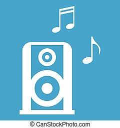 musique, blanc, speacker, portable, icône