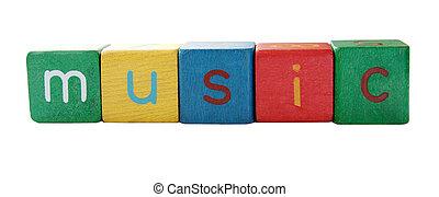 musique, bloc, mot, lettres