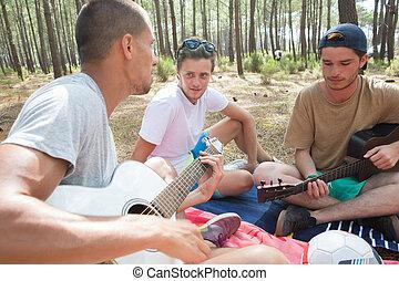 musique, bois, groupe, amis, jouer