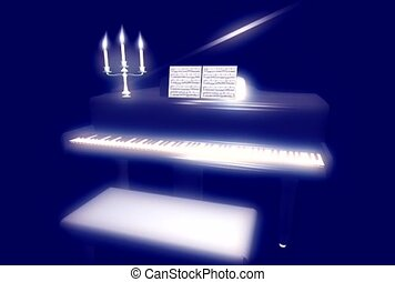 musique, bougie, piano