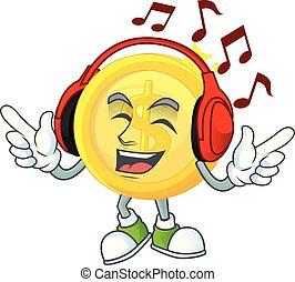 musique, caractère, or, dessin animé, paiement, écoute, monnaie