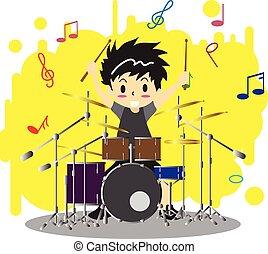 musique, caractère, vecteur, jouer, style, fond, dessin animé, amour, heureux, garçon, conception couleur, drumset, illustration, jeune