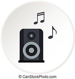 musique, cercle, speacker, portable, icône