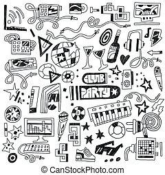 musique, club, fête, -, doodles