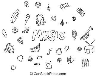musique, -, collection, doodles