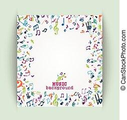 musique, coloré, fond, notes