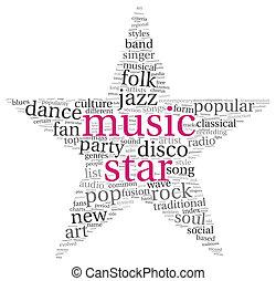 musique, concept, étoile, mots