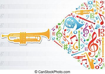 musique, concept, amour, fond, illustration