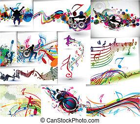 musique, concept, ensemble, gabarit, affiche