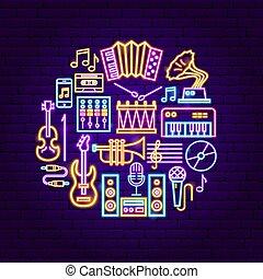 musique, concept, néon