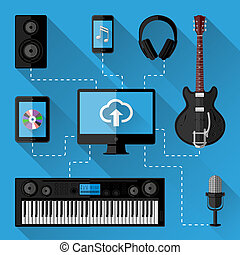 musique, concept, studio, enregistrement