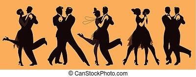 musique, couples, cinq, vêtements, silhouettes, danse, style...