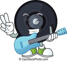 musique, dessin animé, caractère, guitare, viynl, jeux, disque, style