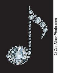 musique, diamant, note