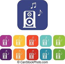 musique, ensemble, speacker, portable, icônes