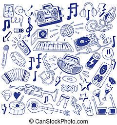 musique, fête, -, doodles