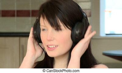 musique, femme, gros plan, écoute