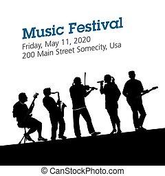 musique, fond, festival, affiche