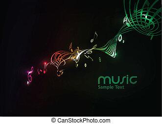 musique, fond, note