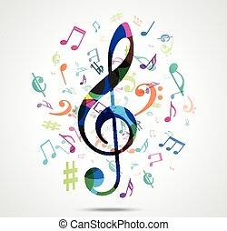 musique, fond, résumé, coloré