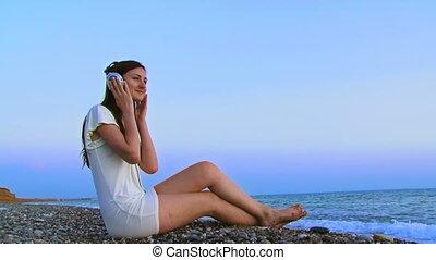 musique, girl, écoute, mer