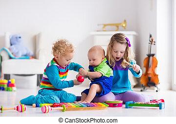 musique, gosses, enfants, instruments