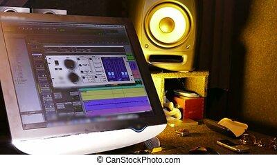 musique, graphique, moniteur, onde sonore, studio, haut-parleurs