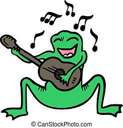musique, grenouille