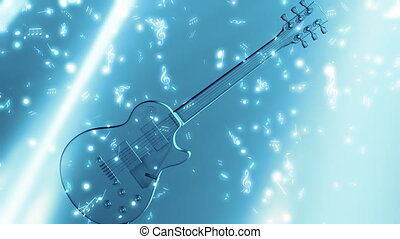 musique, guitare, notes, boucle
