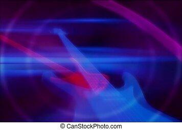 musique, guitare, rouleau, rocher