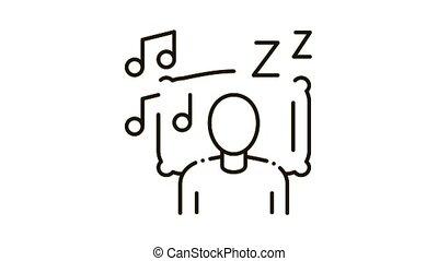 musique, icône, automne, animation, endormi
