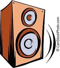 musique, iicon, orateur, dessin animé