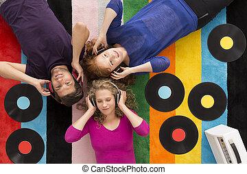 musique, jeune, écoute, gens