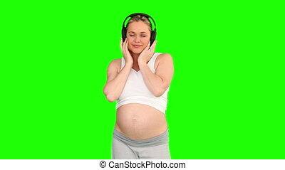 musique, joli, femme enceinte, écouteurs, écoute