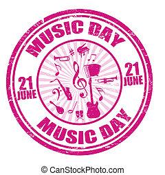 musique, jour, timbre