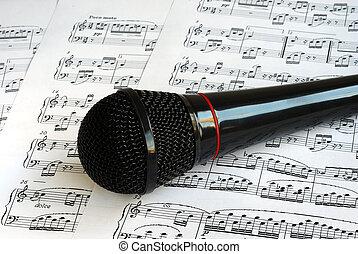 musique, microphone, sommet noir, feuilles