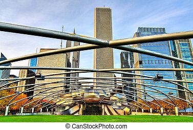 musique, millénaire, parc, pavillon, usa, chicago