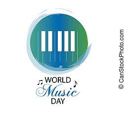 musique mondiale, jour, logo.
