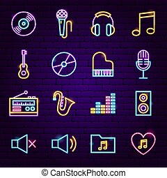 musique, néon, icônes