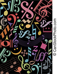 musique, noir, coloré, signes