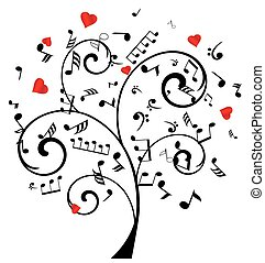 musique note, arbre, cœurs
