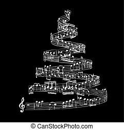 musique note, arbre, noël