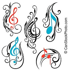 musique note, vecteur, ensemble
