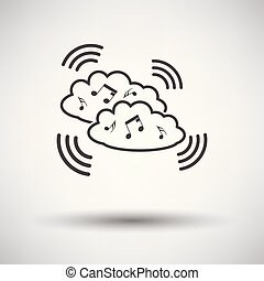 musique, nuage, icône
