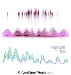 musique, ondes sonores, pouls, résumé, vector., numérique,...
