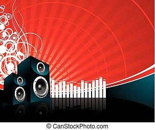 musique, orateur, fond, illustration, rouges