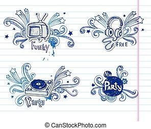 musique, page, doodles