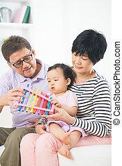 musique, petite-fille, parents, asiatique, grandiose, enseignement, leçon
