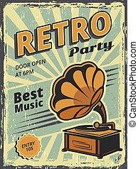 musique, phonographe, vecteur, affiche, affiche, retro, partie., disques, vinyle, invitation